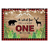 Funnytree 7 x 5フィート 木のこぎり背景 彼はワイルドな男児 1歳の誕生日パーティー 装飾 ベビーシャワー誕生日バナー 赤 黒 バッファロー 格子柄 背景 フォトブース 小道具 ギフト