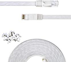 Cat 6 Ethernet Cable 35 ft Flat White,Solid Cat6 High Speed Computer Wire with Clips & Rj45 Connectors for Router, Modem, Faster Than Cat5e/Cat5, (35ft, 1 Pack, White)