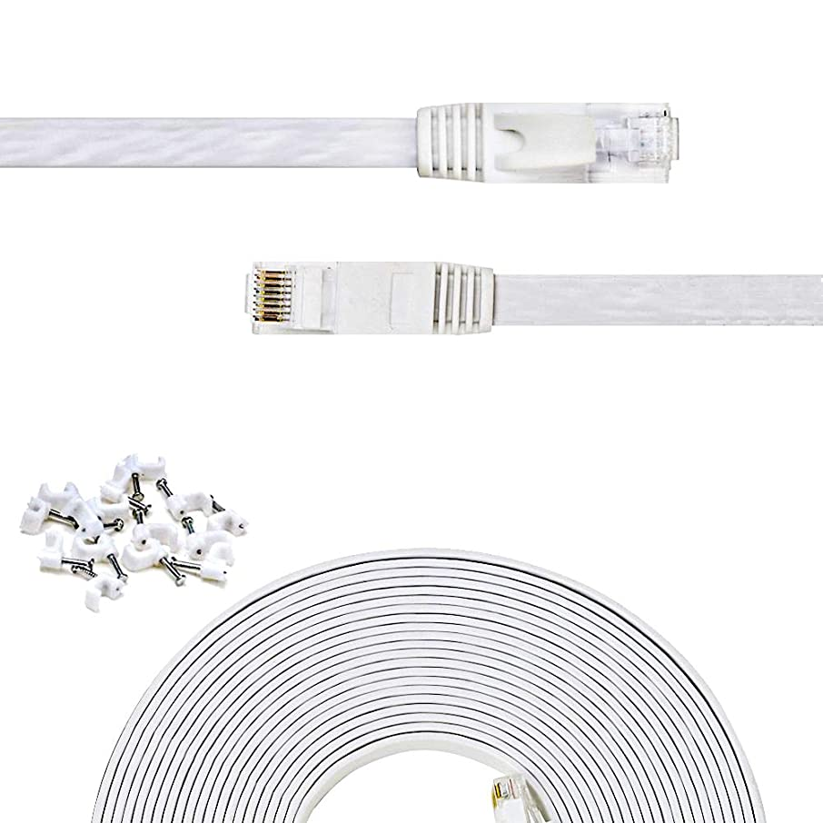 Cat 6 Ethernet Cable 25 ft Flat White,Solid Cat6 High Speed Computer Wire with Clips & Rj45 Connectors for Router, Modem, Faster Than Cat5e/Cat5, (25ft, 1 Pack, White)