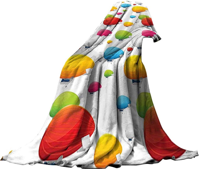 QINYANHome Super Soft Blanket (90 x90 ) Summer Quilt Comforter Retro Decor colorful Zeppelins Pattern Aviation Flight Airship Vintage Stylized Kitsch Artwork Multi.