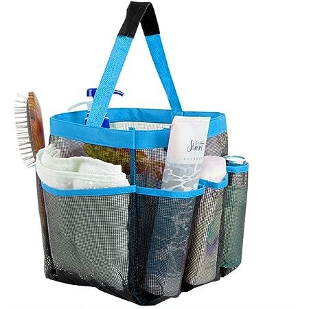 OurLeeme Colgando Secado r/ápido Acoplamiento de Ducha de Mano Caddy Organizador del ba/ño Bolsa con 8 Pocket Dormitorio Gimnasio Campo Azul del Viaje