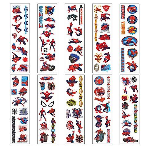 Tatuajes Temporales,Falso Tatuajes Pegatinas 10 Hojas Hombre Araña Etiquetas Adhesivas para Niños Niñas Fiestas Regalo Navidad