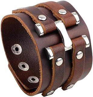 TURTLEDOVE Mens Leather Bracelet Adjustable - Vintage Bracelet with Wide Belt, Gift Ideas for Brother, Dad, Boyfriend or H...
