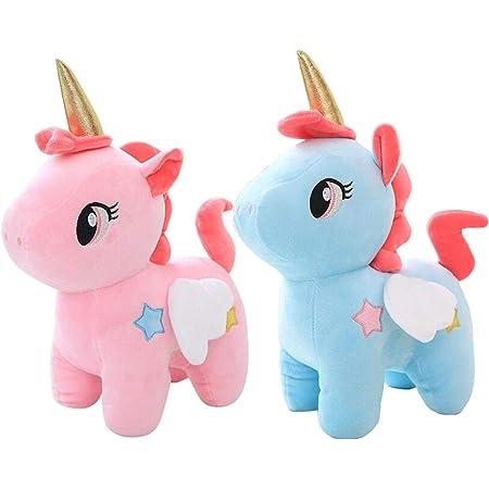liuer 2PCS Peluche Unicornio de Felpa Muñeca Unicornio Artículos de Fiesta Unicornio Cumpleaños Niños Piñata Unicornio Regalo para Amigo Madre Niños(20CM)