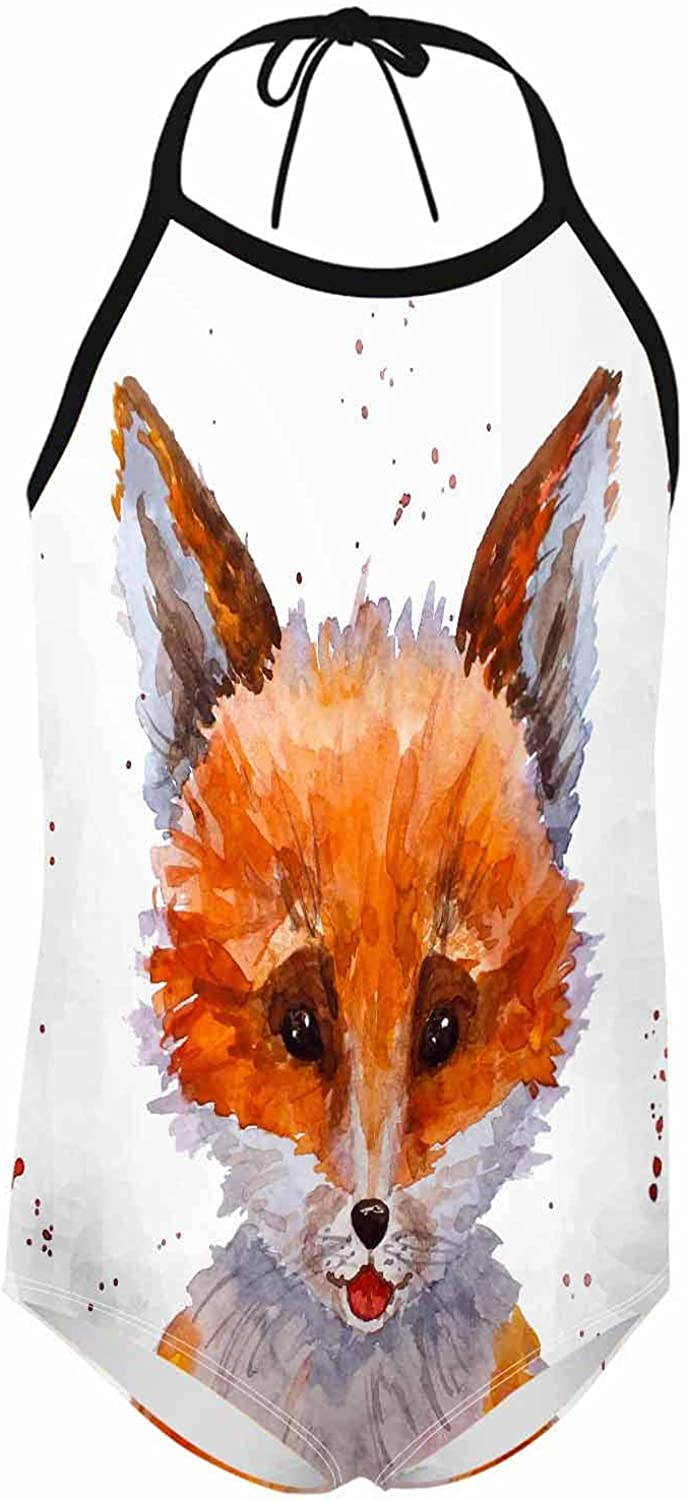Nicokee Youth Strap One Piece Swimsuit Cute Baby Fluffy Fox Yell