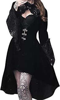 Modaworld Vestito da Sera Elegante in Pizzo Gotico Abito Steampunk Carnevale Dress Tinta Unita Punk Festa d'Epoca Rockabil...