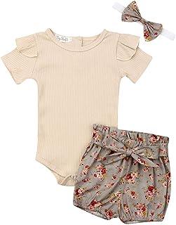 Geagodelia Ensemble de Vêtement Tenue Haut Nouveau-né Bébé Fille Barboteuse T-Shirt à Manche Longue + Pantalon imprimé + B...