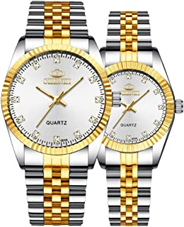 Sponsored Ad - Couple Watches Swiss Brand Golden Watch Men Women Stainless Steel Waterproof Quartz Watch