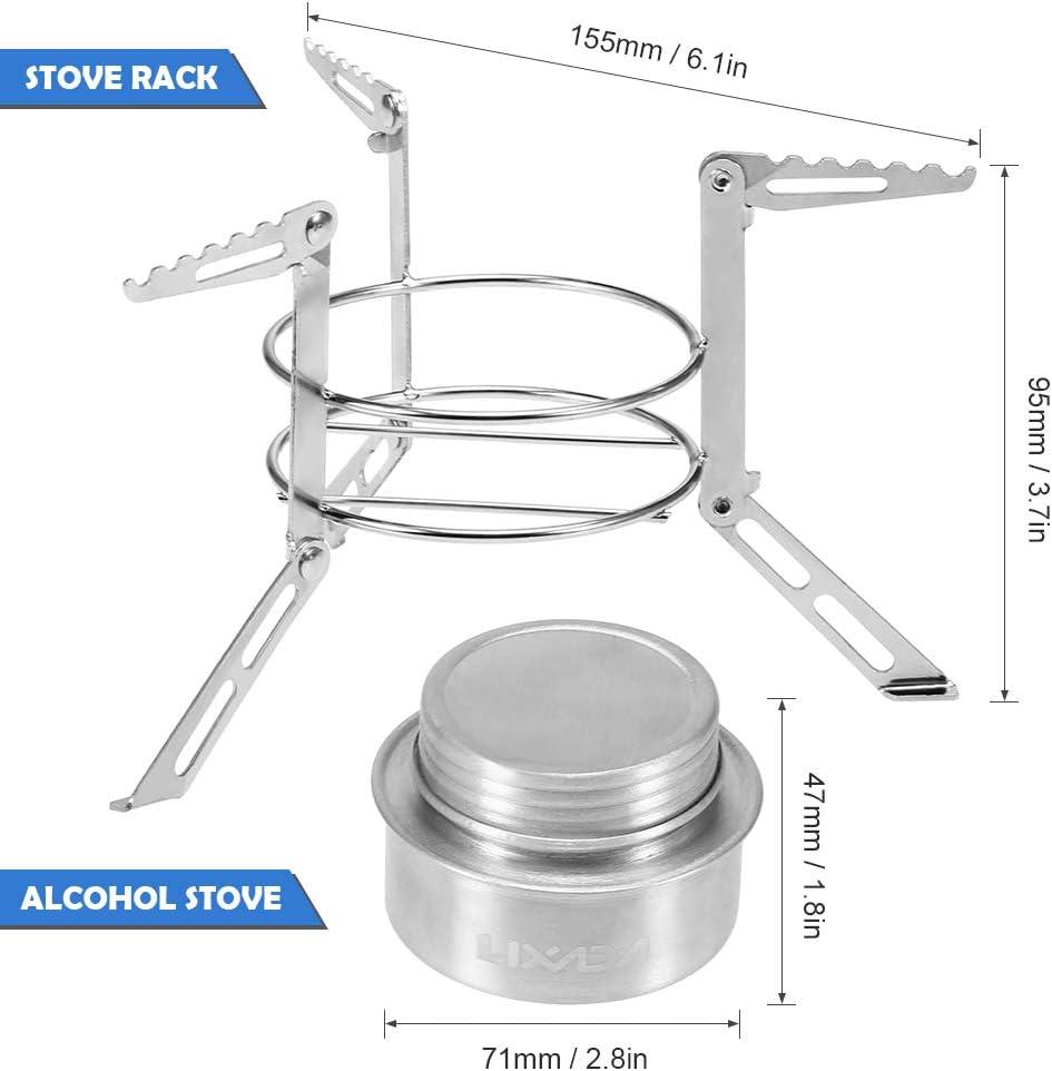 Lixada Mini Stufa ad Alcohol Lega di Alluminio con Coperchio in Acciaio Inossidabile Stand Rack Ultraleggero Fornello Esterno per Il Campeggio Escursionismo Zaino in Spalla