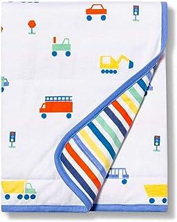 Jersey Knit Blanket Transportation - Cloud Island White/Blue