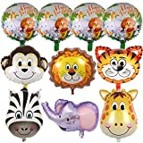 10Pcs Safari Jungle Animal Helium Balloons - 22' Giant Zoo Animal Foil Balloons Set for Safari Jungle Theme Birthday Party Decorations