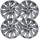 16 inch Hubcaps Best for 2011-2017 Volkswagen Jetta - (Set of 4) Wheel Covers 16in Hub Caps Silver Rim Cover - Car Accessories for 16 inch Wheels - Snap On Hubcap, Auto Tire Replacement Exterior Cap