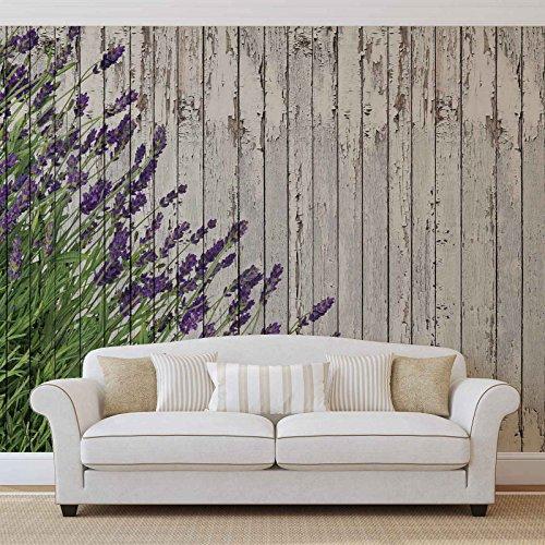 Lavendel-Holz-Planken - Forwall - Fototapete - Tapete - Fotomural - Mural Wandbild - (2962WM) - XXL - 368cm x 254cm - Papier (KEIN VLIES) - 4 Pieces
