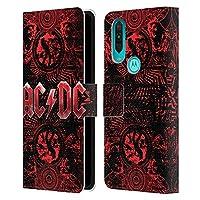 Head Case Designs オフィシャル ライセンス商品 AC/DC ACDC オーネート・レッド ロゴ Motorola One Action 専用レザーブックウォレット カバーケース