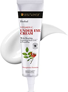 Soulflower Under Eye Cream for Dark Circles, Reduce Puffiness & Wrinkles with Rosehip, Vitamin C, Vitamin E, & Lactic Acid...