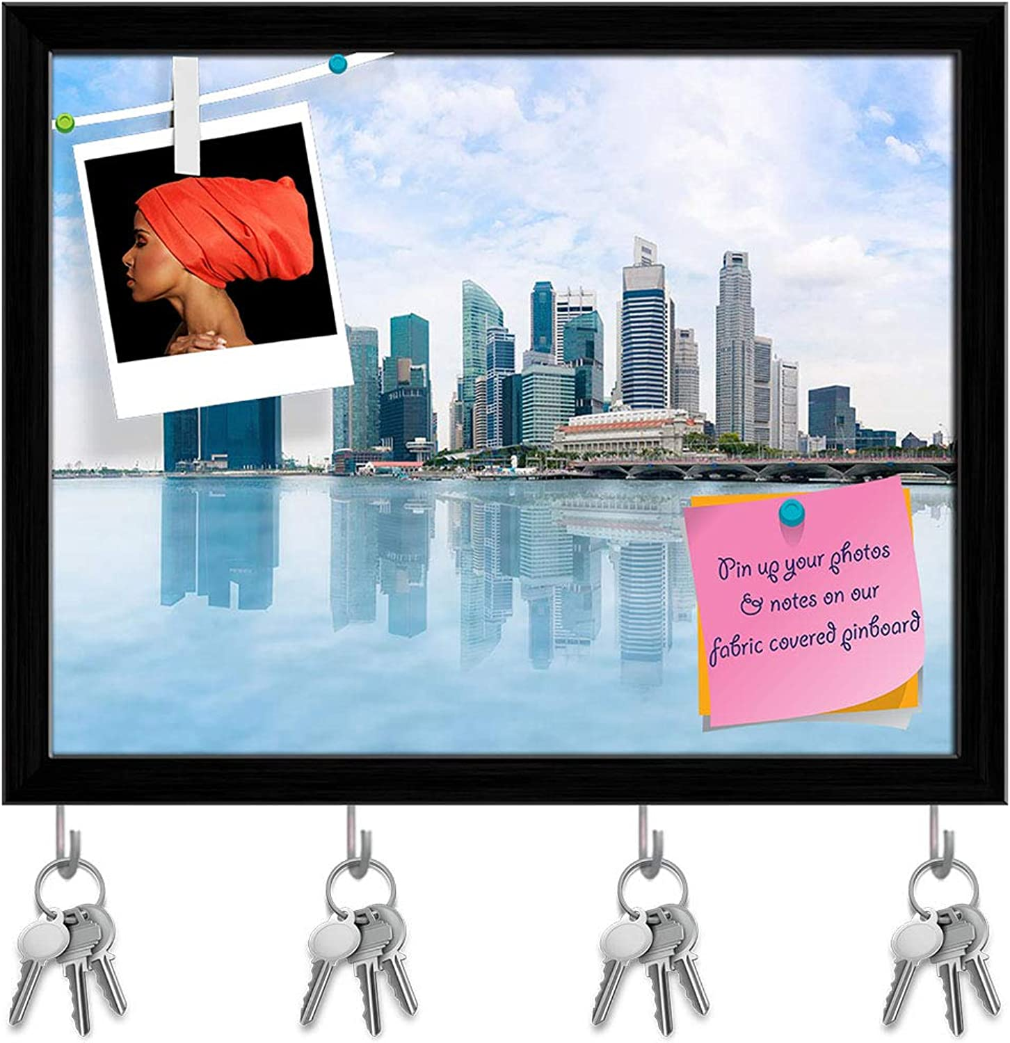 Artzfolio Marina Bay Skyline Singapore Key Holder Hooks   Notice Pin Board   Black Frame 15.2 X 12Inch