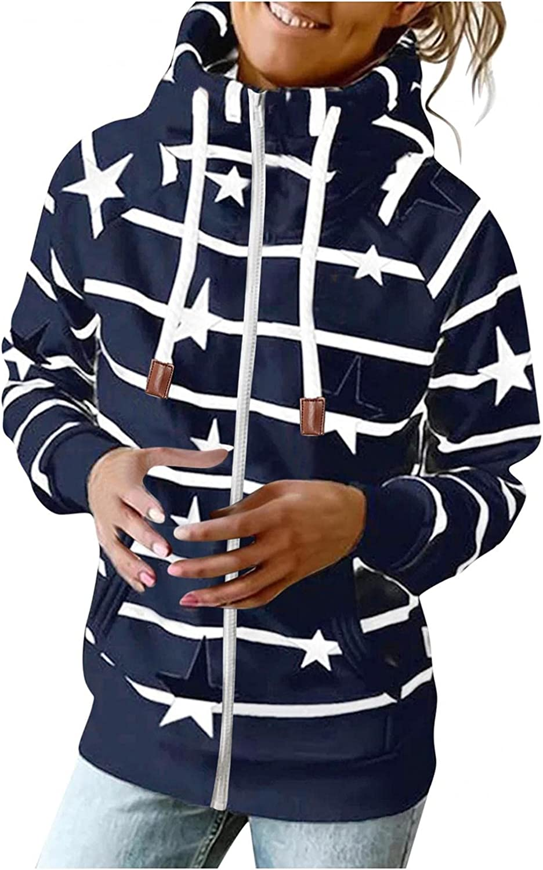 COMVALUE Womens Hoodies,Women Casual Zipper Printed Long Sleeve Lightweight Striped Pullover Sweatshirts