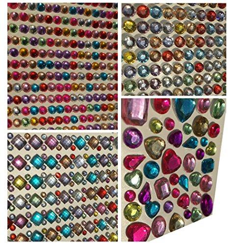 Set aus 1920 Stück glitzernden Strasssteinen selbstklebend eckig quadratisch bunt rund basteln Glitzersteine Schmucksteine Strass Steine zum Verzieren von CRYSTAL KING