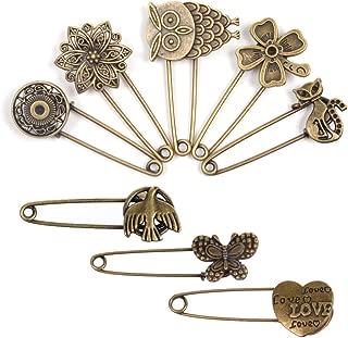 BPC Pack of 8 Bronze Vintage Hijab Pins Brooch Pins Safety Pins