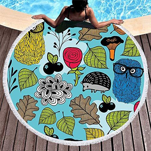 ETH Vakantie Retro Ronde Gedrukte Strandhanddoek Microvezel Strandkussen Volwassen Kinderen Kwastzijde 150 * 150cm duurzaam