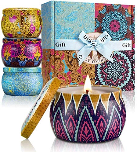 Scented Candles Lavender, Lemon, Mediterranean Fig, Fresh Spring, Real Soy Wax Portable Travel Tin Candle,Set Gift of 4, Multi, Metal