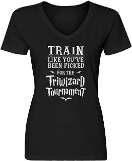 Womens Train for Triwizard Tournament Blank V-Neck T-Shirt
