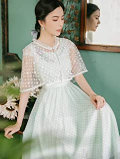 ABDKJAHSDK Summer New Retro Round Neck Floral Embroidered Plaid Shawl Design Ladies Long Chiffon Dress