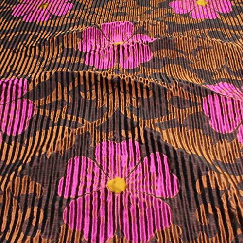 Stoff am Stück Stoff Seide Leinen Polyacryl aubergine bronze Blume Wellenoptik blickdicht