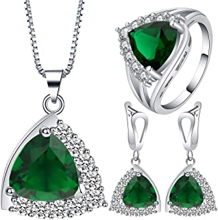 VPbao Plated 925 Sterling Silver CZ Stainless Steel Necklace Earrings Ring Set Green