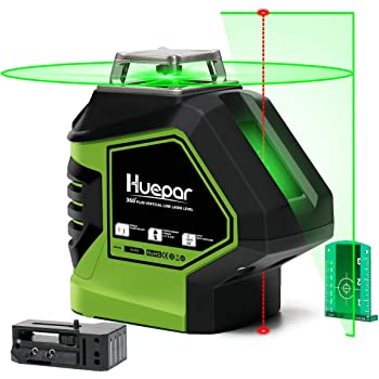 Huepar Self-Leveling Green Laser Level 360 Cross Line with 2 Plumb Dots Laser Tool -360-Degree Horizontal Line Plus Large Fan Angle of Vertical Beam with Up & Down Points -Magnetic Pivoting Base 621CG