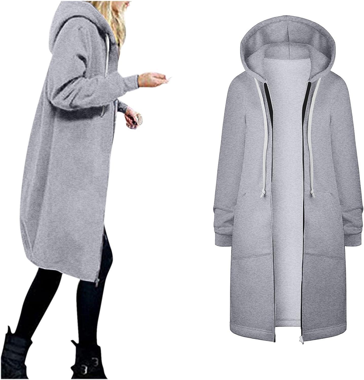 Women's Flannel Lined Trench Coat With Hood Winter Warm Zipper Open Hoodies Outwear Long Windbreaker Jacket Overcoat