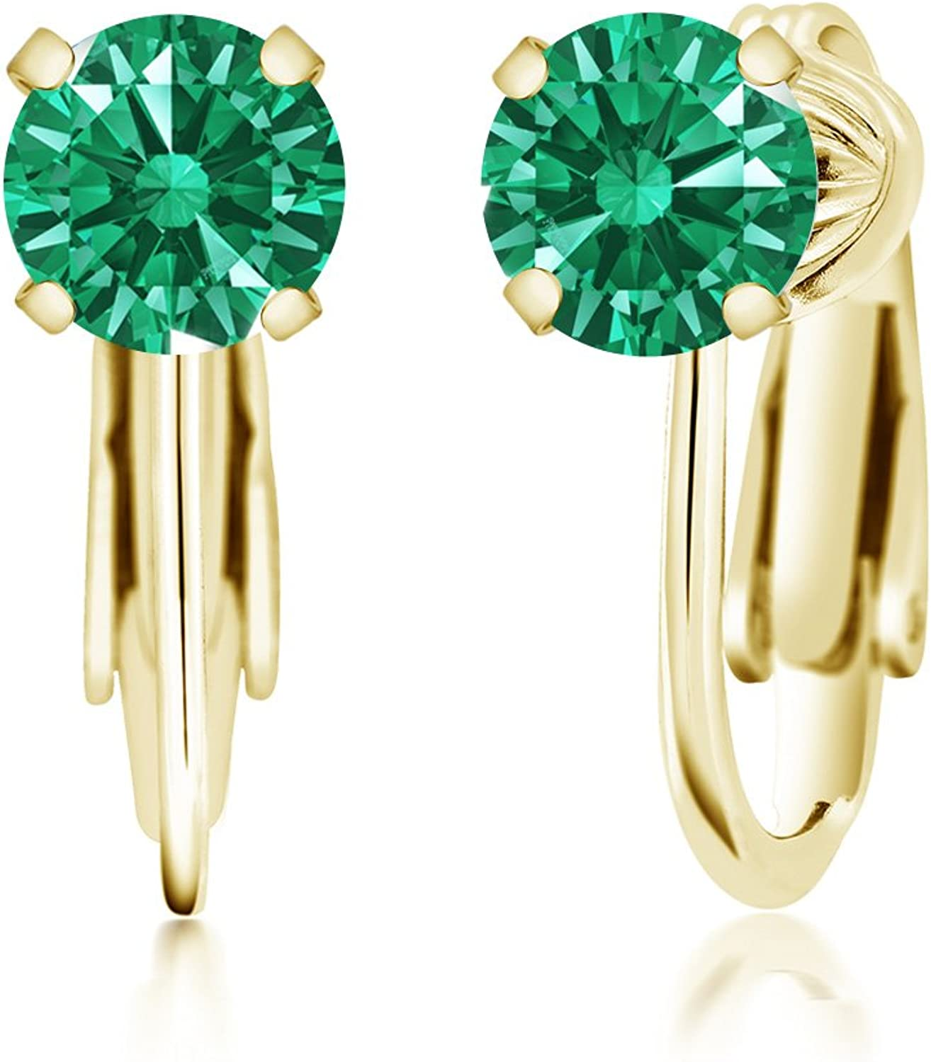 Carlo white Green 925 Yellow gold Plated Silver Earrings Made With Swarovski Zirconia