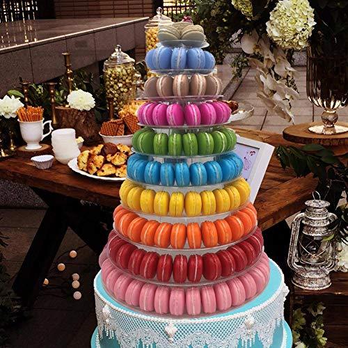 -10 Tiers Round Macaron Tower Stand Cake Display Rack for Wedding Birthday Decor-
