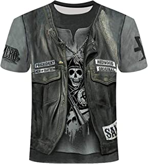 KPII Camisetas de Manga Corta 3D, Esqueleto Impresas Camisetas Hombre, Casual Creativas Cuello Redondo Tallas Grandes Cami...