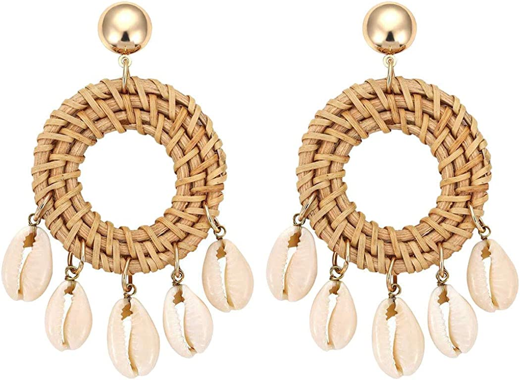 Women's 5 Shell Disc Rattan Stud Hoop Earrings for Women Girl Statement Jewelry Hand Woven Lightweight Straw Wicker Braid Ethnic Geometric Hollow Round Dangle Drop Pierced Ears