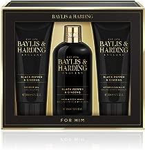 Baylis & Harding Men's Grooming Trio Gift Set, Black Pepper & Ginseng