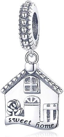 INBEAUT Autentico 100% Argento Sterling 925 Dolce Casa Ciondolo a Forma di Casa Ciondolo Adatto per Donne Bracciali DIY Gioielli Regalo