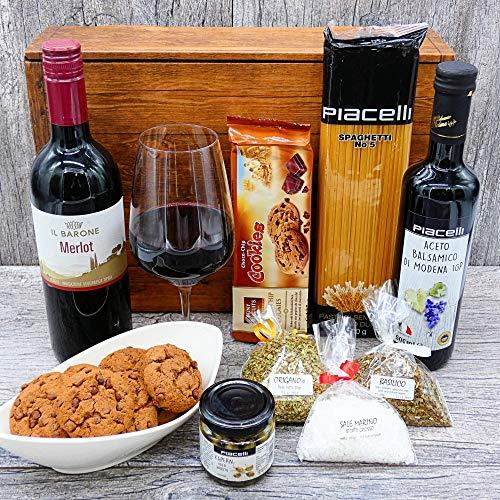 Geschenkset Italien 03 | Italienischer Geschenkkorb gefüllt mit Delikatessen und Merlot (1x0.75l) Geschenk Set Feinkost