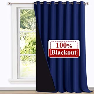 NICETOWN 100% Blackout Patio Sliding Door Curtain, Wide Lined Drape, Keep Warm Drapery, Sliding Glass Door Panel for Night Shift(Dark Blue, 1 Panel, 100 inches Wide x 108 inches Long