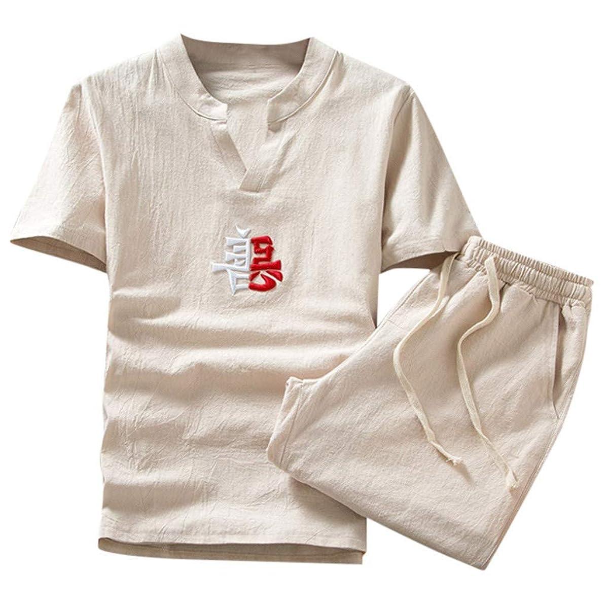 Cotton Linen Sets for Men Summer Short Sleeve and Shorts Yoga Pants Plus Size Embroidery Tshirt Beachwear