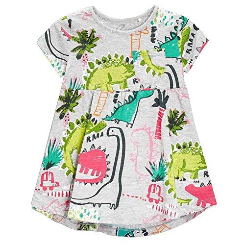 Frogwill Girls Green Dinosaur Tunic Short Sleeve Summer Casual Dress 2-7T, Gray, 4t