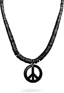 Peace Sign Symbol Coconut Shell Pendant with Natural Wood Wooden round Beads Necklace