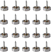 """Rannb 14mm/0.55"""" Dia Brass Mirror Screws Cap Cover Nails Decorative Sign/Advertising Hardware Fasteners Sliver -Pack of 20"""