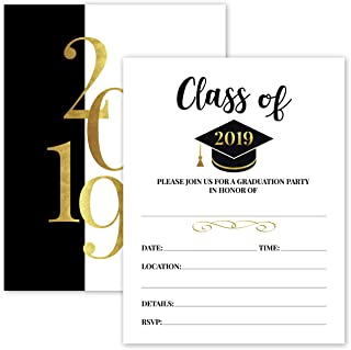 25- 2019 Gold & Black Graduation Party Invitations with Envelopes for 2019 College, High School, University Grad Celebration or Announcement- Invite Cards Fill In Style- Party Decorations Supplies