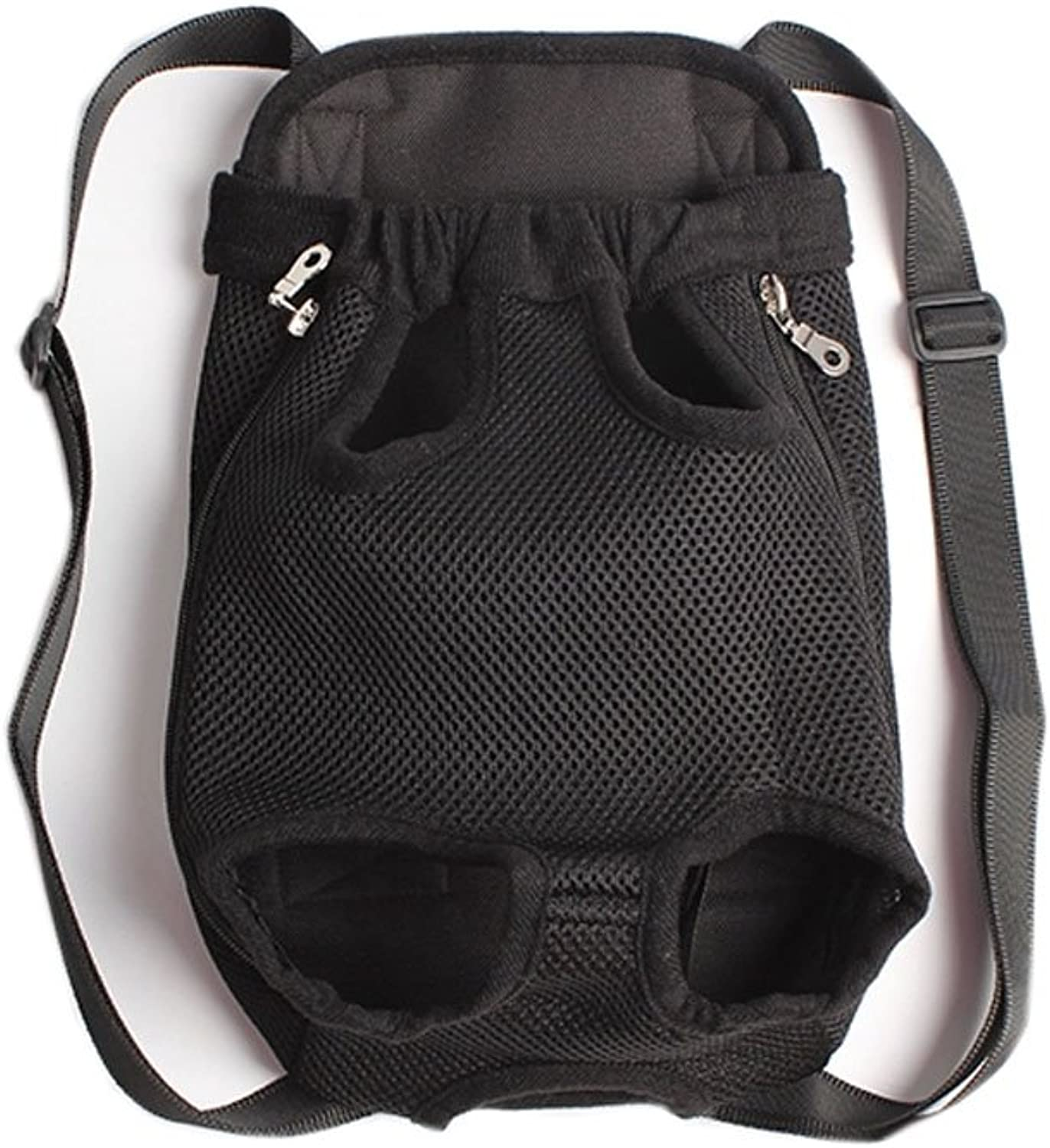 Portable Chest Carrier Backpack Bag for Pets Dogs Black(Bust 50cm, Up to 15LB)