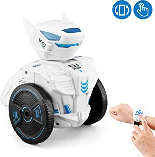 WomToy Remote Control Robot Toy for Kids, DIY Rc Intelligent Gravity Induction Robot Kit, Led Lights Singing Dancing Walking Wrist Watch-Worn Robot Stem Learning Best Gift for Kids