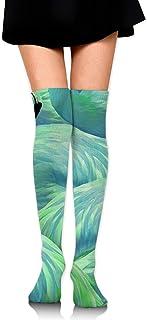Fiebre de flamenco en azul y verde Sobre la rodilla Calcetines hasta el muslo Niña Medias altas 65 Cm / 25.6In