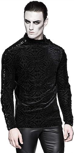 Punk Rave - T-Shirt à Manches Longues - Col Ras du Cou - Manches Longues - Homme Noir Noir