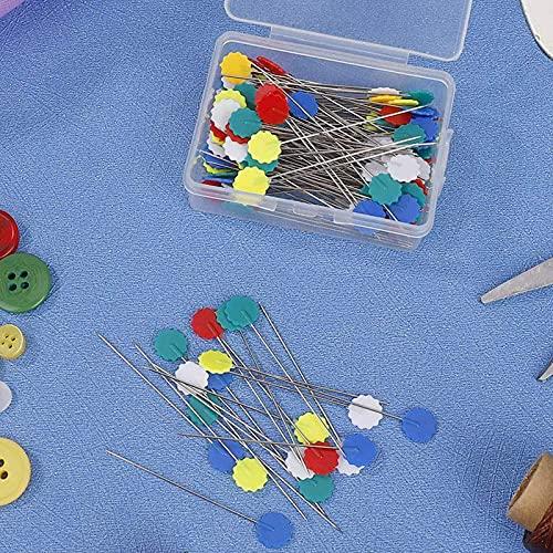 200 Piezas Alfileres Patchwork Caja de Alfileres de Costura Alfileres de Cabeza Plana Head Pins Forma de BotóN de Ciruela para Manualidades de Costura Decorativas de Costura de Joyas de Bricolaje