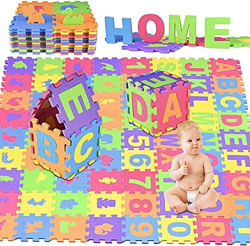 GOLDGE 72PCS Puzzle Tapis Mousse, Tapis de Jeu Très Résistant pour Enfants, Jeu Tapis de Puzzles pour Bébé, Non Toxique, Alphabets & Chiffres, EVA Multicolore